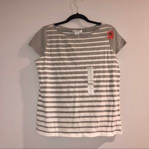 NWT Liz Claiborne Striped Short Sleeve